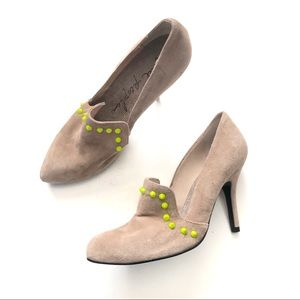 Free People Suede Pumps with Neon Studs